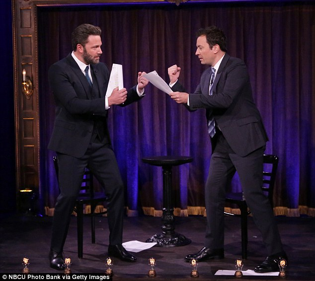 Stage fight: Ben Affleck and Jimmy Fallon almost came to blows on Thursday's Tonight Show