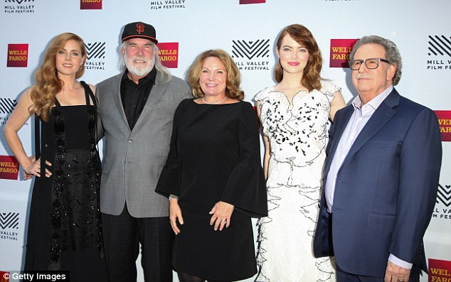 All together: The actresses posed for a shot with some festival personnel, including founder Mark Fishkin (right)