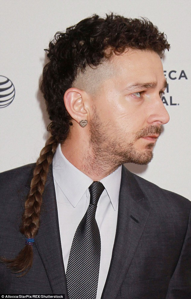 Cutting edge: Shia showed off his unusual haircut, which consisted of a thick plait at the end of a curly Mohawk at the Tribeca film festival in 2015