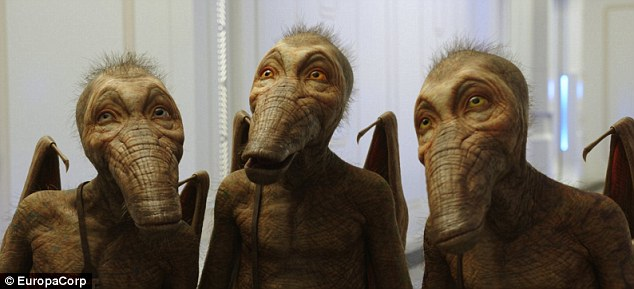 Duck-bat-elephants! The final image shows a trio of aliens, boasting the leathery skin and wings of a bat, elongated duckbill snouts and the hair of a baby elephant - but with rather friendly demeanor