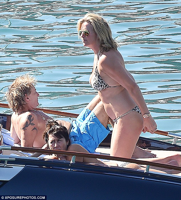 Fun in the sun! Penny Lancaster and Rod Stewart looked as loved up as ever as they enjoyed a romantic holiday in Portofino, Italy