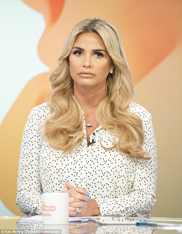 Break: Katie Price has announced on Loose Women on Friday that she's taking a month-long break from the public eye after the gruelling experience of promoting her new book Reborn