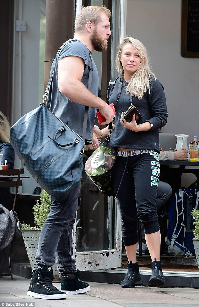 Low key couple:Chloe Madeley goes make-up free in gym gear as she and beau James Haskell stepped out for a casual lunch in London on Thursday