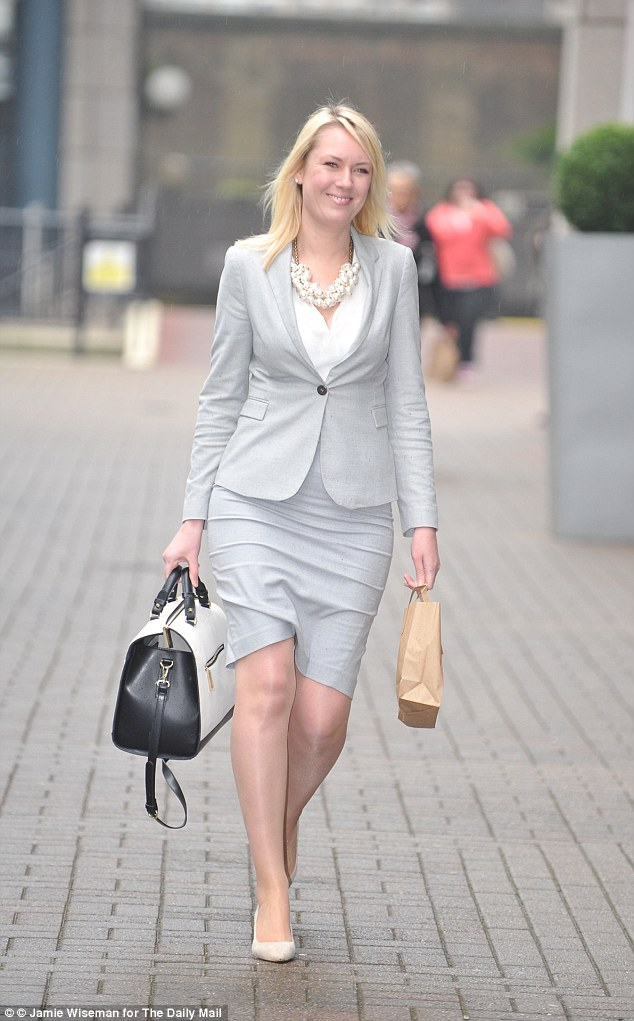Stella English pictured arriving at an East London Employment Tribunal hearing where she accuses her former boss Lord Alan Sugar of constructive dismissal