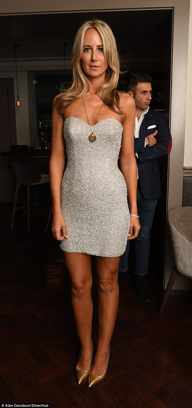Lady Victoria Hervey looked extremely youthful as she slipped into a glitzy little dress to celebrate her 40th birthday in style in London on Thursday night