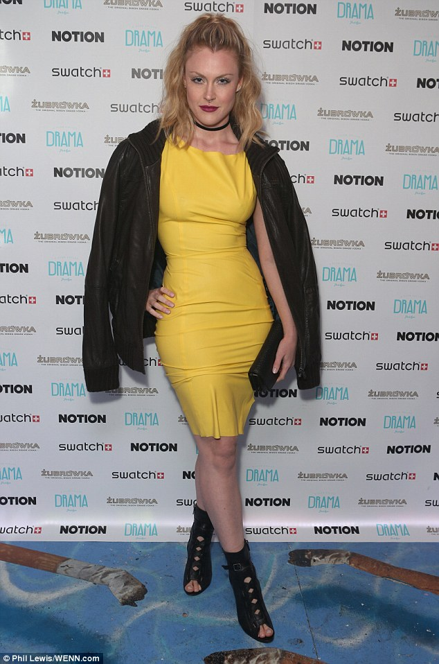 Vision in yellow: Camilla Kerslake also attended the bash in a bright canary figure-hugging dress