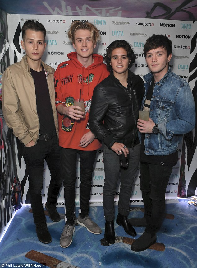Boys will be boys: The Vamps followed soon after in a selection of stylish jackets paired with jeans and smart shoes