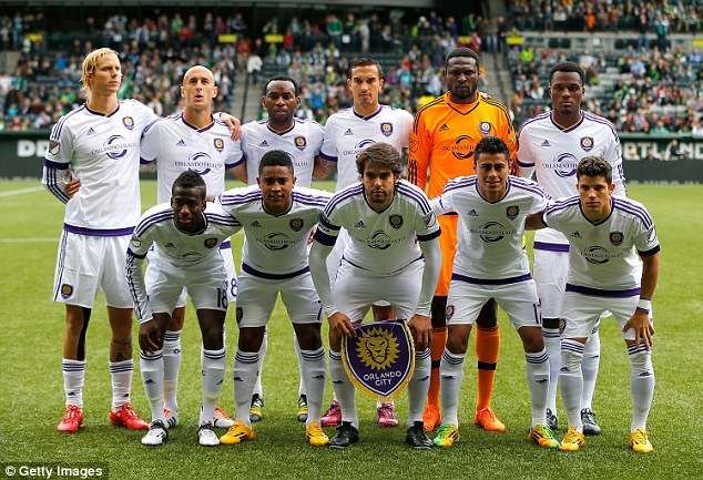 Kaka (front centre) poses for a photo alongside his Orlando City team-mates ahead of the Portland match
