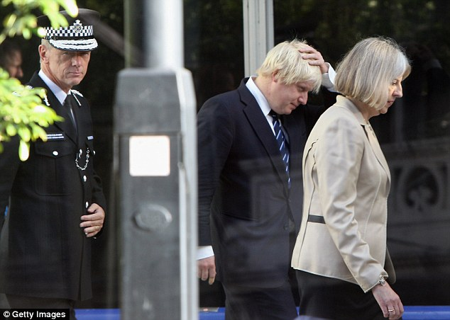 Boris was put next to Home Secretary Theresa May, who had humiliated him in the Commons earlier this month