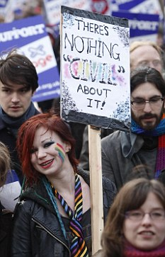 Is partnership enough? Protesters calling for same-sex marriages march down the Royal Mile in Edinburgh