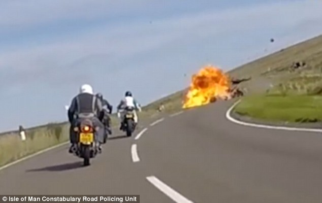 A German rider, also killed, was overtaking when the bikes collided and burst into flames, according to the police