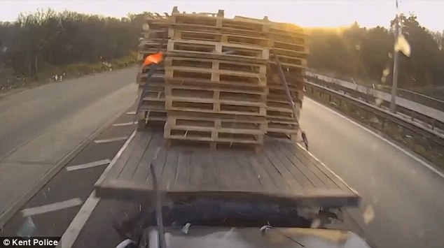 Stanulis' vehicle, fully laden with steel, collided with a black Ford Fiesta which in turn hit a Iveco flatbed lorry carrying wooden pallets (pictured), during the crash on the coast-bound carriageway of the A2 at Harbledown, near Canterbury, Kent at rush-hour on January 19