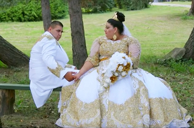 A 19-year-old Slovakian sported a £175k dress during her wedding to Lukas in a gypsy wedding
