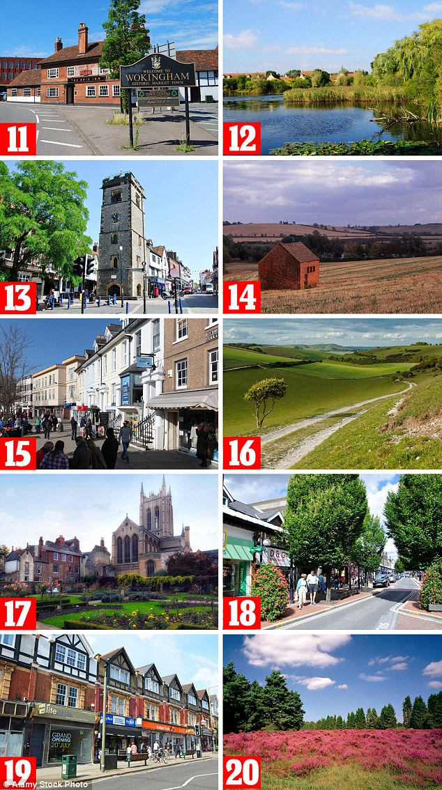 The list revealed the top 50 places to live in Britain, with towns and villages placing 11 to 20 shown above. Pictured: 11. Wokingham, south east, 12. East Cambridgeshire, 13. St Albans, 14. South Northamptonshire, 15. Horsham, 16. Mid Sussex, 17. St Edmundsbury, 18. Eastleigh, 19. Epsom and Ewell, 20. Surrey Heath