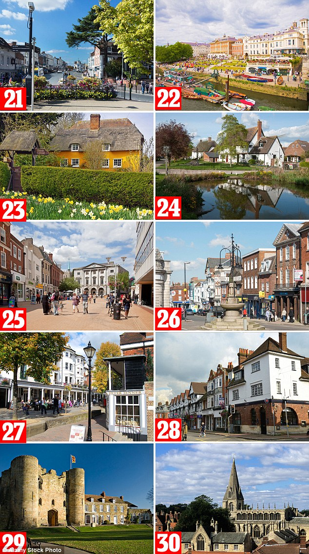 The towns and villages pictured above show the areas placing at 21 to 30 in the list of the best places to live in the UK. Pictured from the top, left to right: 21. Stratford-on-Avon, West Midlands, 22. Richmond upon Thames, London, 23. Uttlesford, 24. Vale of White Horse, south east, 25. Chelmsford, 26. Sevenoaks, 27. Tunbridge Wells, 28. South Bucks, 29. Tonbridge and Malling, south east, 30 North Kesteven, east Midlands