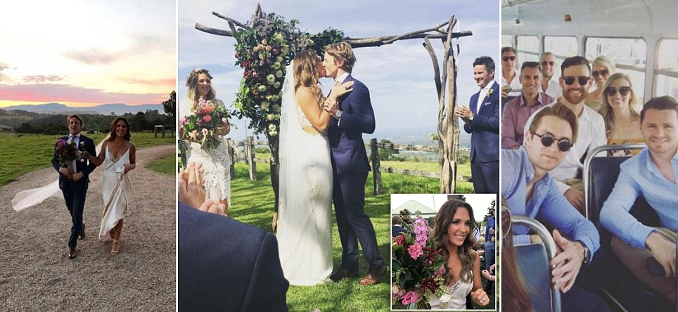 Adelaide Crows gun Rory Sloane marries Belinda Riverso in Byron Bay in front of a crowd of