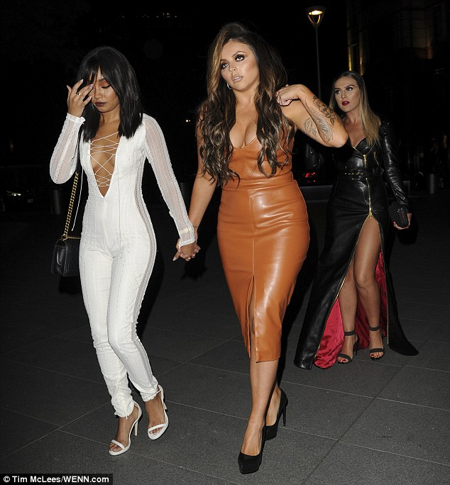 Dressed to impress: Leigh-Anne went braless under the slinky number, which clung to her toned figure