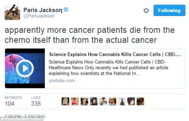 Speaking out: Earlier that day, she had tweeted that 'apparently more cancer patients die from the chemo itself than from the actual cancer' along with a YouTube video entitled: 'Science Explains How Cannabis Kills Cancer Cells'