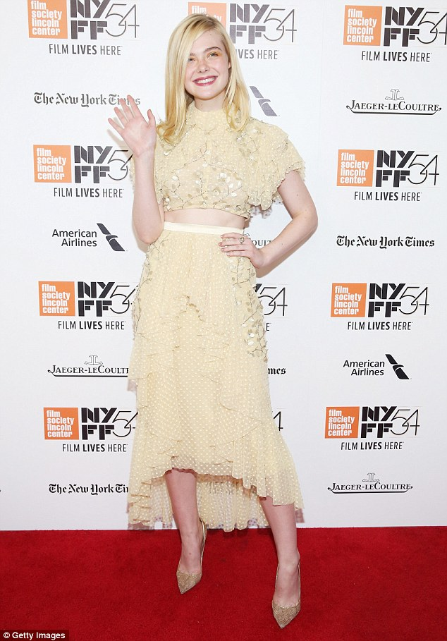 Lovely in lace: Elle Fanning looked delightful in a lacy and ruffed two-piece number at the NYFF premiere of her new movie 20th Century Women on Saturday