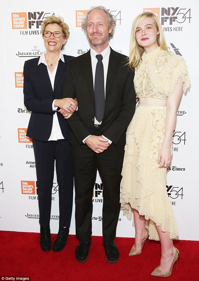 In good company: Elle posed up with co-star Annette Bening and the film's director Mike Mills at the event
