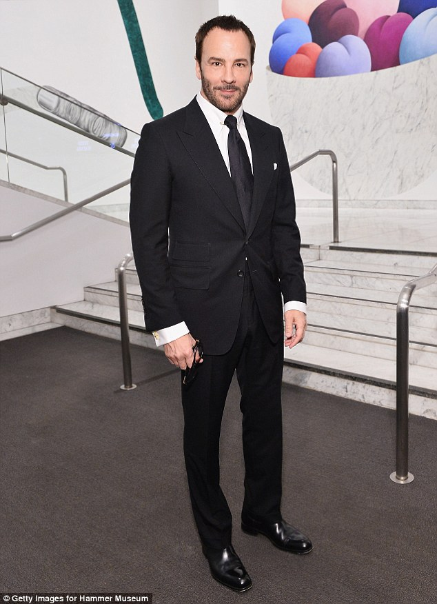 Polished to perfection! Designer, director and producer Tom Ford, 55, looked dapper in a fitted black suit