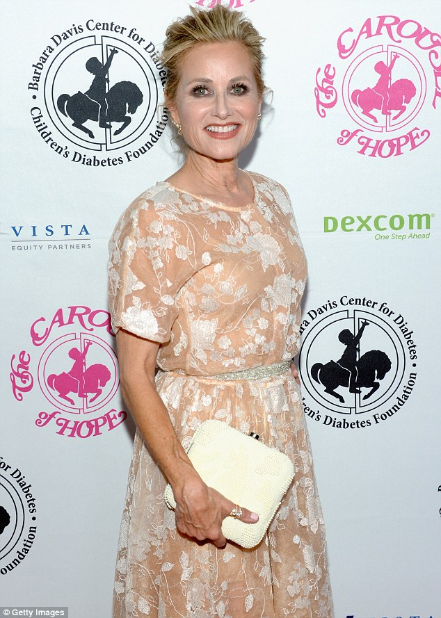 Lovely: The 60-year-old actress, who gained fame as Marcia in The Brady Bunch, looked pretty in the patterned look