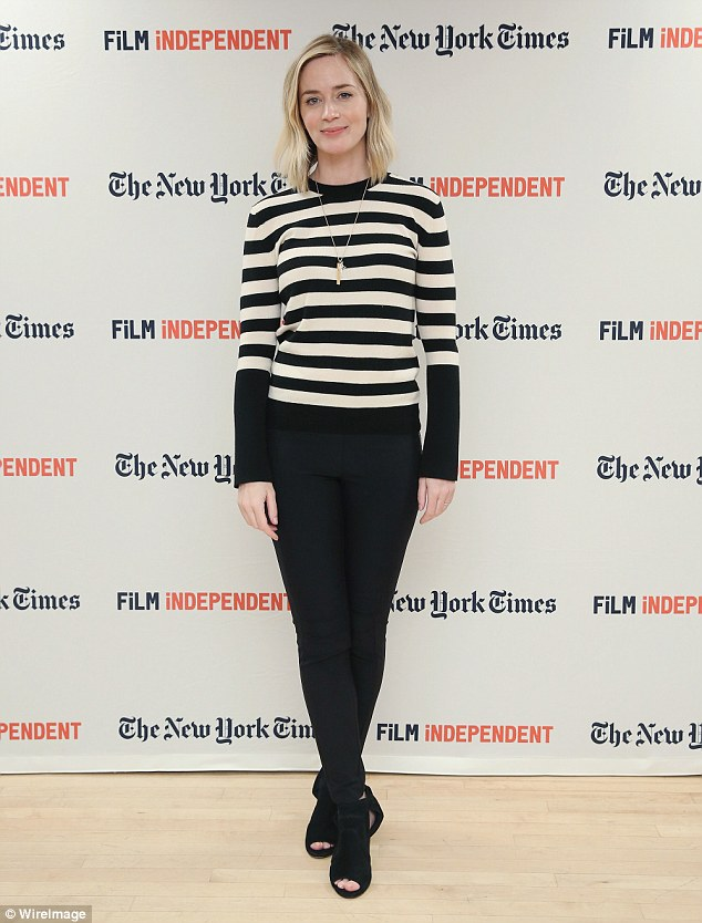 Bar-none! Emily Blunt, 33, kept things quite casual for the event in a distinctive striped top