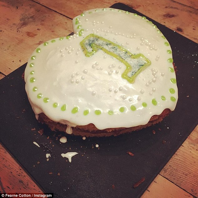 Celebration: Fearne posted another shot of a cake she baked to celebrate Honey's birthday