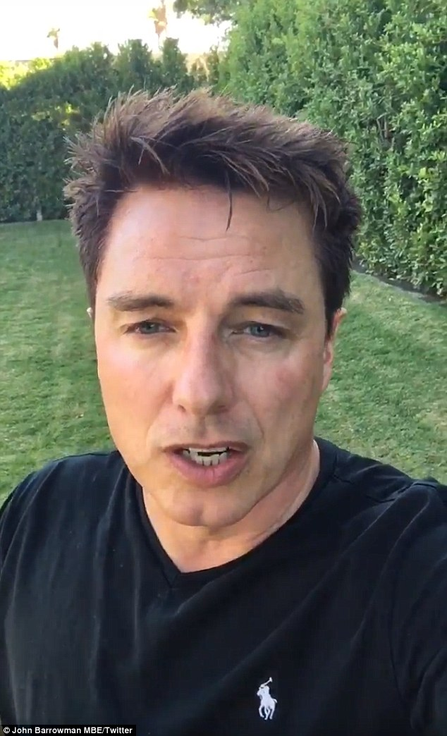 Sad events: On Saturday John Barrowman unfortunately had to play the part of reporter, as a bloody shooting unfolded just yards away from his house in Palm Springs, California