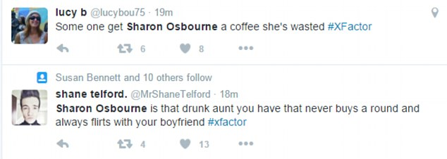 Social media speculation: The 63 year-old was the subject of humorous Twitter speculation, which suggested she was a little worse for wear on Saturday's X Factor