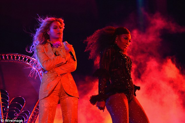 On-stage sizzler: Serena's skin-tight number boasted ruffles on the hips and along the arms and she teamed the number with sparkly fishnets which complemented her sculpted legs