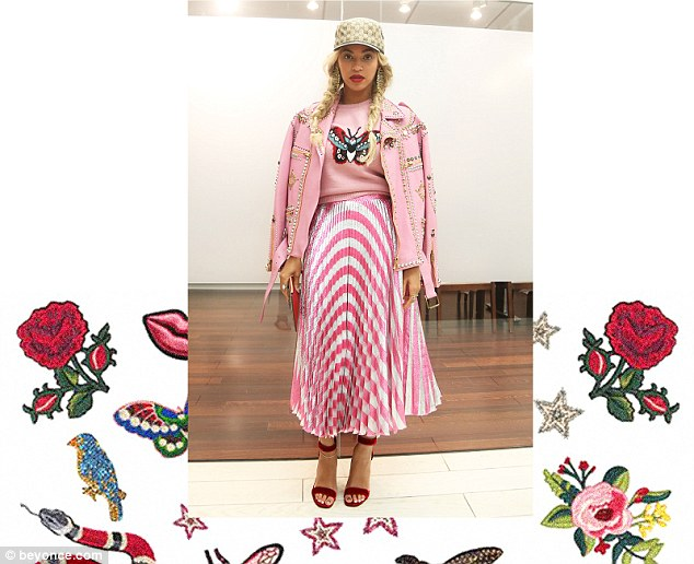 Colour-clash: She added a pair of deep red ankle strap heels to go with the candy pink pleated skirt