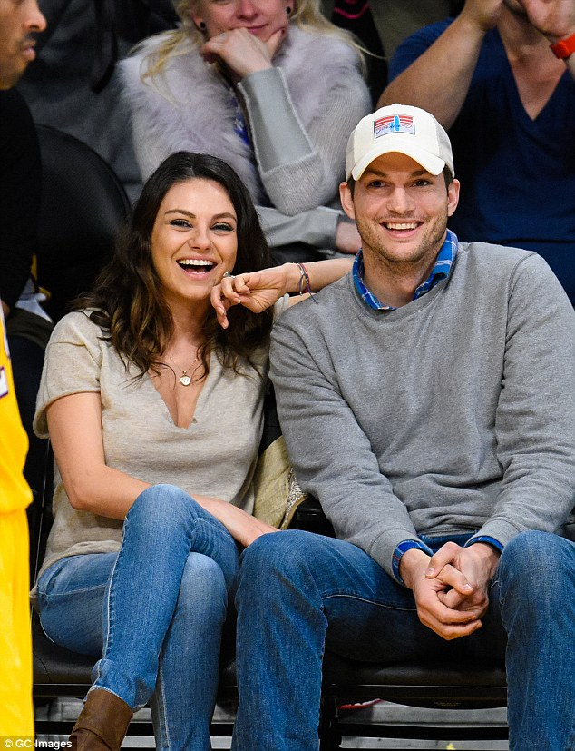 happy couple: Kutcher and Kunis, who formerly played boyfriend and girlfriend on That 70s Show, started dating in 2012 and tied the knot in July last year
