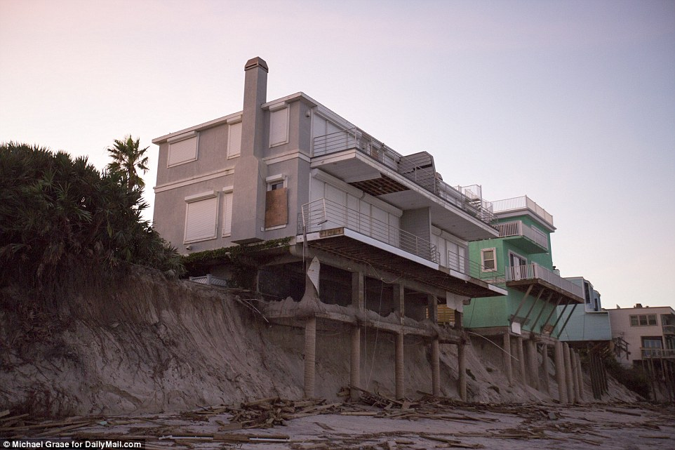 In St Augustine, huge swathes of the beach were torn out by the storm to expose beachfront homes' foundations
