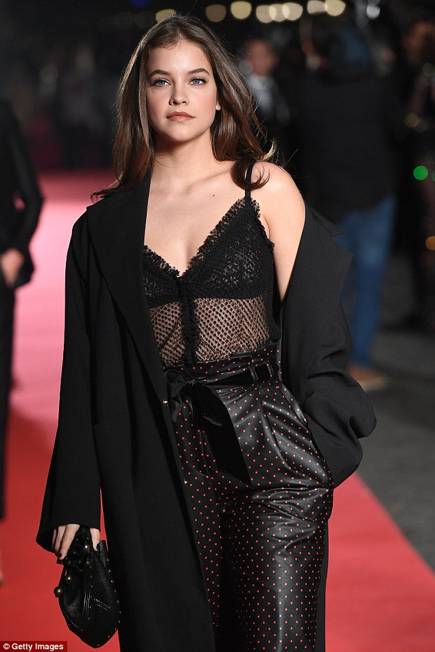 Spot on! Barbara Palvin, 22,showed off the incredible figure that shot her to fame in a sheer lace top and trendy polka dot trousersat the Intimissimi On Ice event in Italy on Friday
