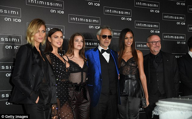 The main man: The gorgeous quartet were all sartorially in sync, and they were joined by operatic legend Andrea Bocelli, who was performing on the night