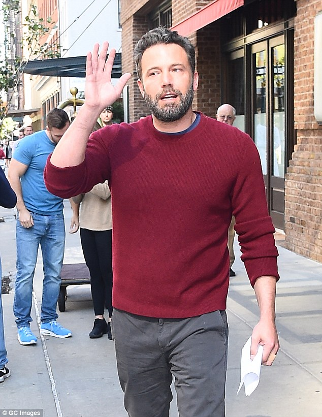 Modern man: Ben, seen in New York on Thursday, is busy promoting his new movie The Accountant
