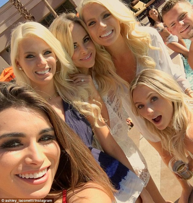 Girls just wanna have fun: The party people included (L-R)Ashley Iaconetti,Haley Ferguson, Amanda Stanton, Emily Ferguson and the bride-to-be Lauren