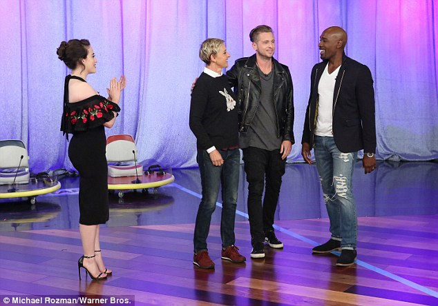 Good sports: The 30-year-old actress took part in a game of shuffle board - which Ellen played using actor, Morris Chestnut and lead singer of OneRepublic, Ryan Tedder