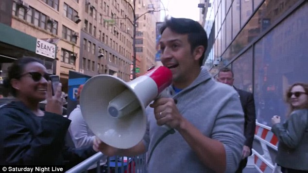 'We're sending pizzas for all of you!' Lin-Manuel Miranda surprised fans queued up at Saturday Night Live's standby line as he announced boxes of pizza were on their way