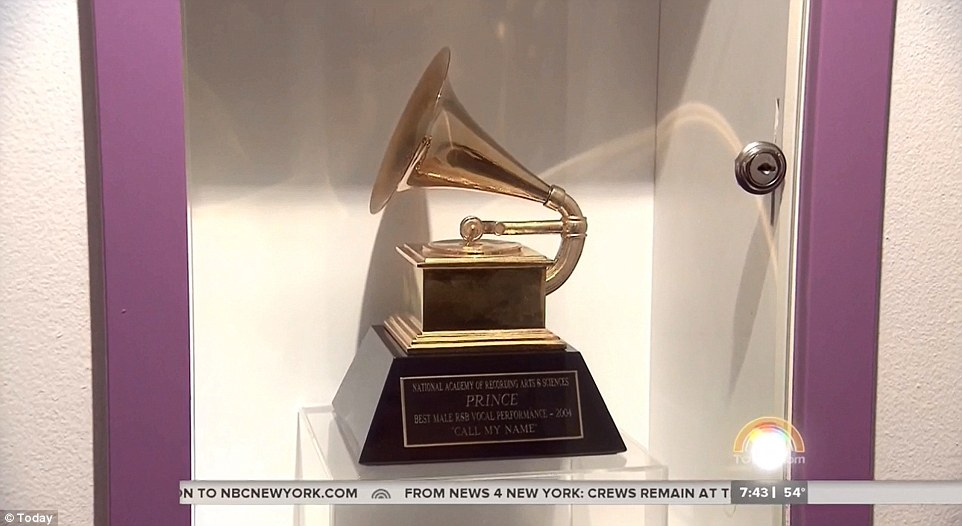 Honored: A Grammy award Prince received for best male R & B vocal performance is pictured