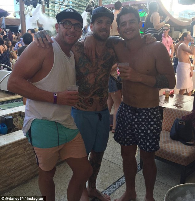 The former AFL star, made his debut with Collingwood in 2003 (Swan pictured in the centre with friends at a party in Las Vegas).There is no suggestion Swan's friends pictured have taken illegal drugs