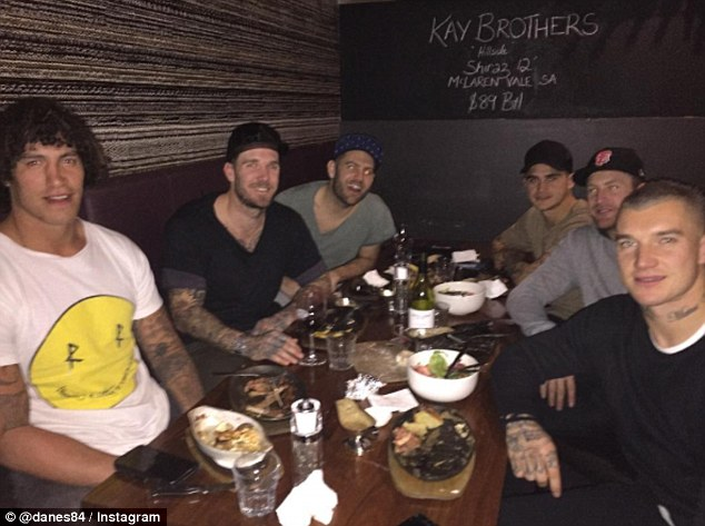 Swan (pictured centre left on the night out with his friends in Melbourne) is releasing an autobiography calledDane Swan - My Story.There is no suggestion Swan's friends pictured have taken illegal drugs