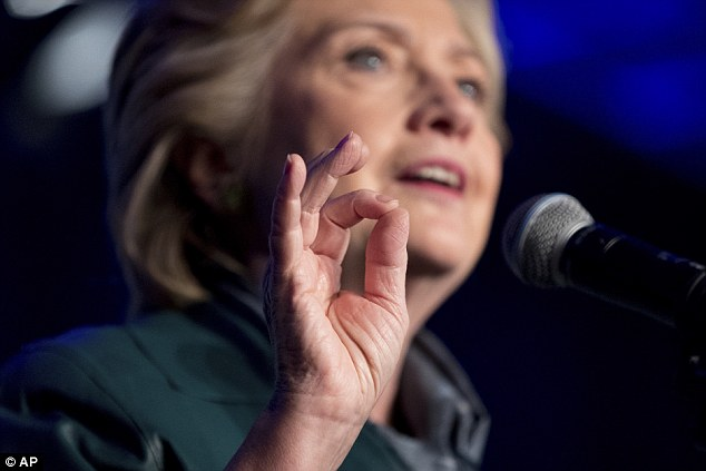 emocratic presidential candidate Hillary Clinton speaks at a Women for Hillary fundraiser at the Hyatt Regency in Washington on October 5