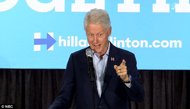 Bill Clinton was in Milwaukee discussing climate change when Donald Trump protesters shouted: 'Bill Clinton is a rapist!' Clinton brushed them off telling his audience that 'they had a bad day yesterday'