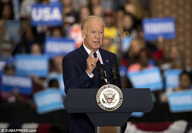 Vice-president Joe Biden (pictured on Friday) referred to Donald Trump's comments about grabbing women 'by the p***y' as sexual assault in a tweet Saturday