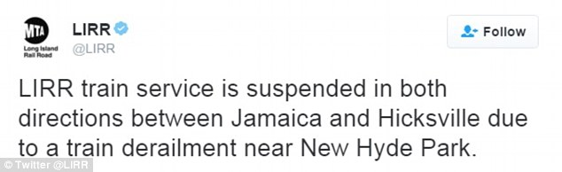 Long Island Rail Road made the first mention of the derailment in a tweet announcing other service disruptions
