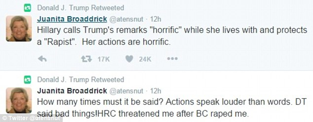 Donald Trump retweeted Broaddrick's post where she again made the accusations against Bill Clinton on Saturday