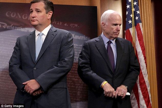 Senator John McCain (pictured last month next to Ted Cruz) withdrew his support from Donald Trump on Saturday and slammed the GOP nominee's 'boasts about sexual assaults'