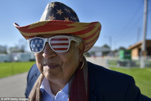 A supporter of Republican presidential nominee attends the 1st Congressional District Republican Party of Wisconsin event in Elkhorn on Saturday